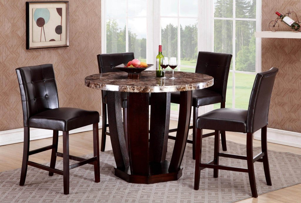 Ryan 5 Pc Faux Marble Round Dinette Set Dining Room Sets