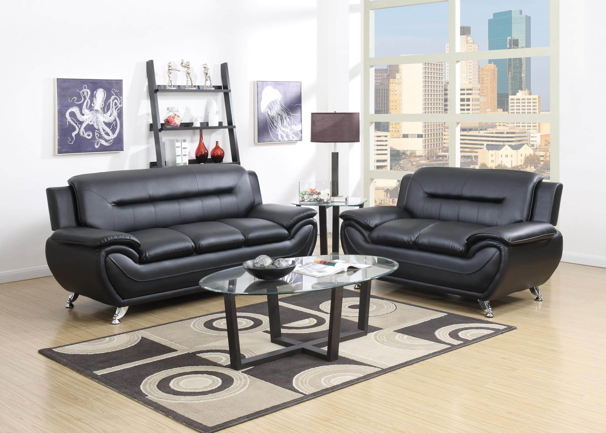 black living room Black Living Room Set  Leather Sets