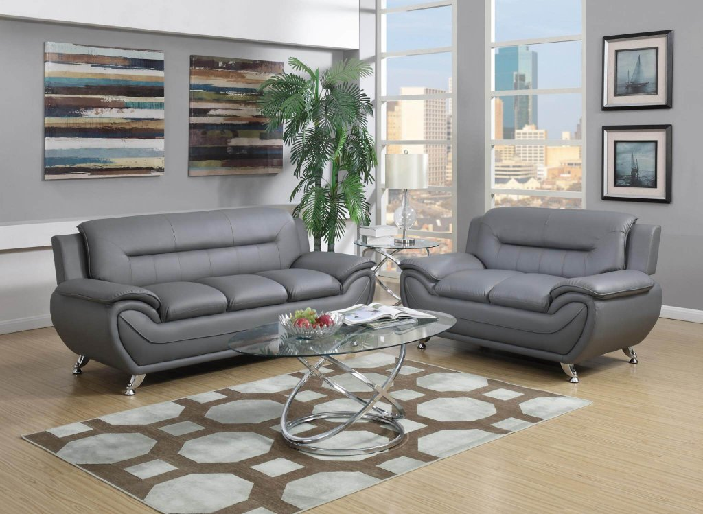 Grey contemporary living room set living room sets - Gray modern living room furniture ...