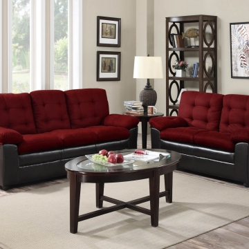 Burgundy Two Tone Living Room Set