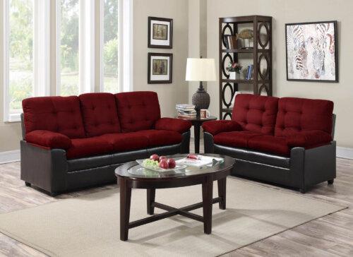 Burgundy Two Tone Living Room Set