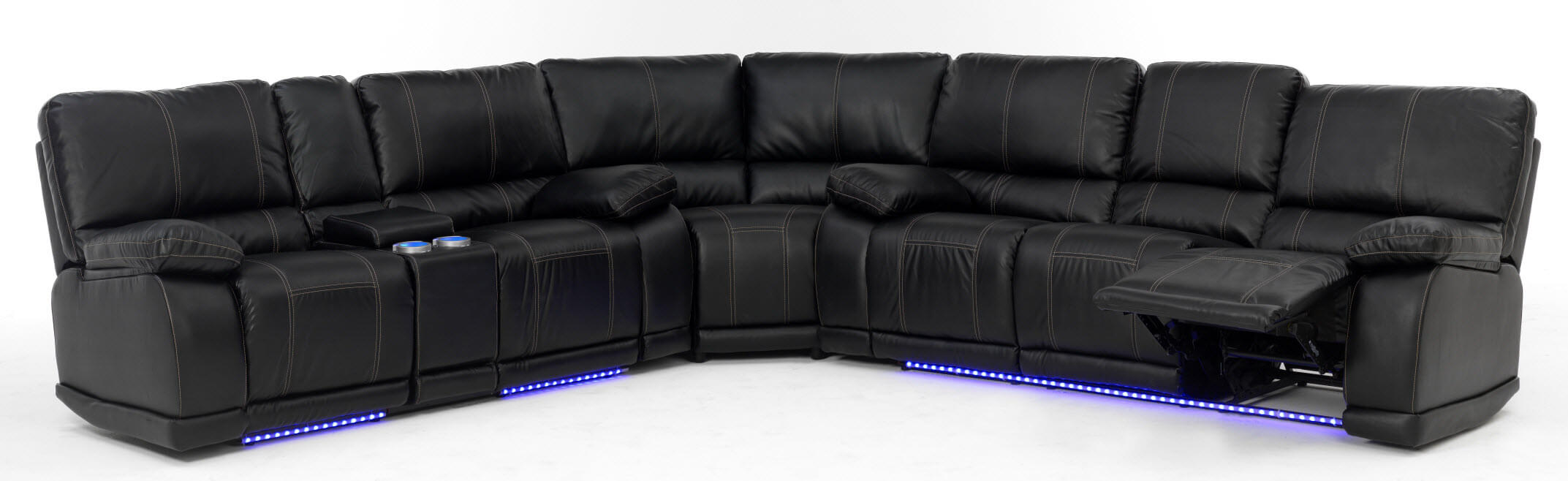 Superb Electra Power Reclining Sectional With LED Lights