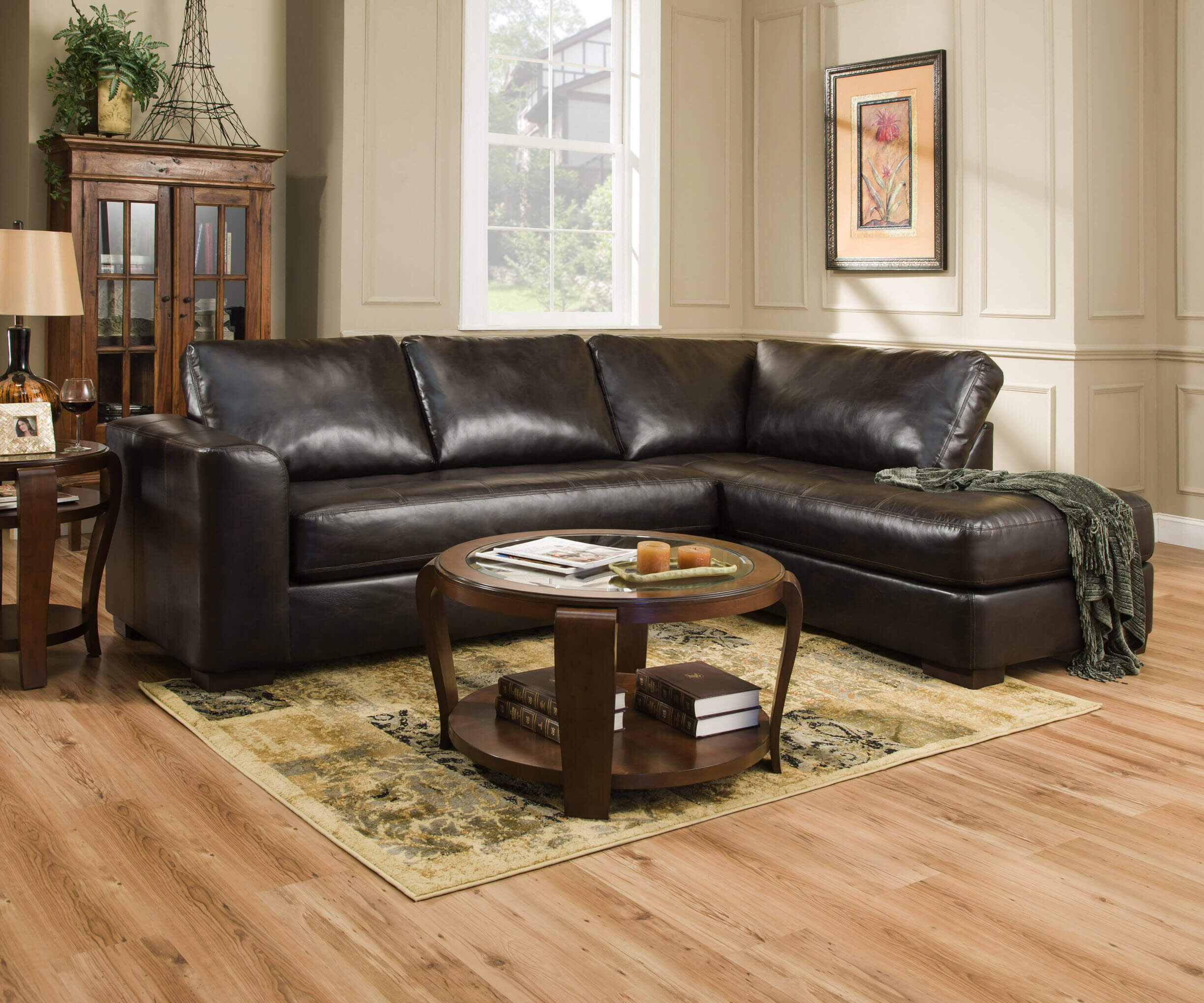 Simmons Lucky Espresso Sectional Sectional Sofa Sets - Espresso living room furniture