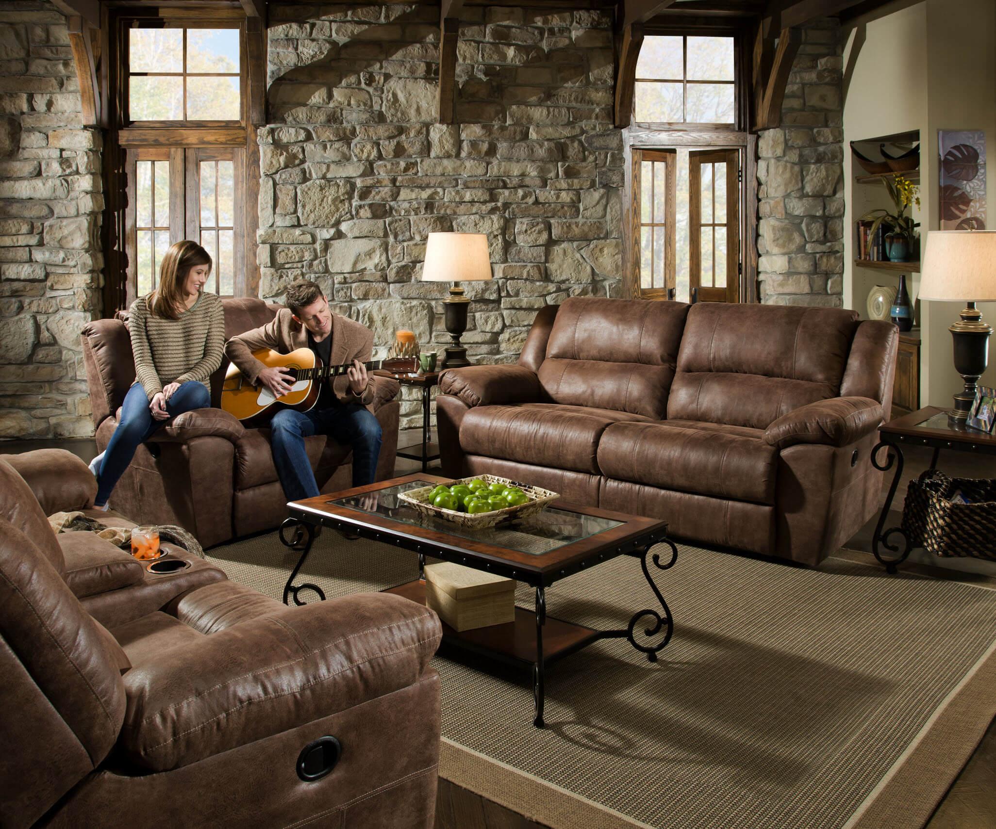 Phoenix Mocha Reclining Sofa And Loveseat By Simmons