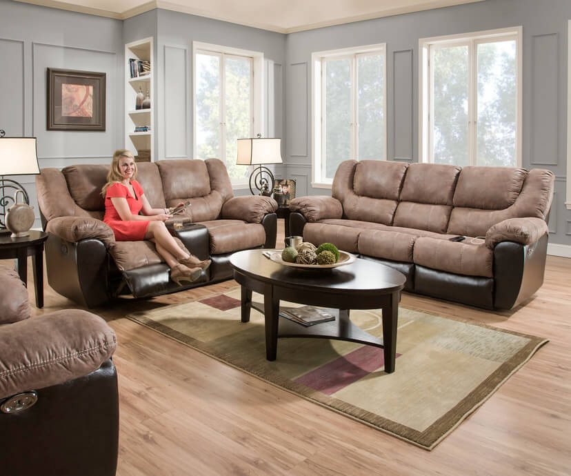 furnished living room bandera mocha reclining sofa and loveseat by simmons 11240