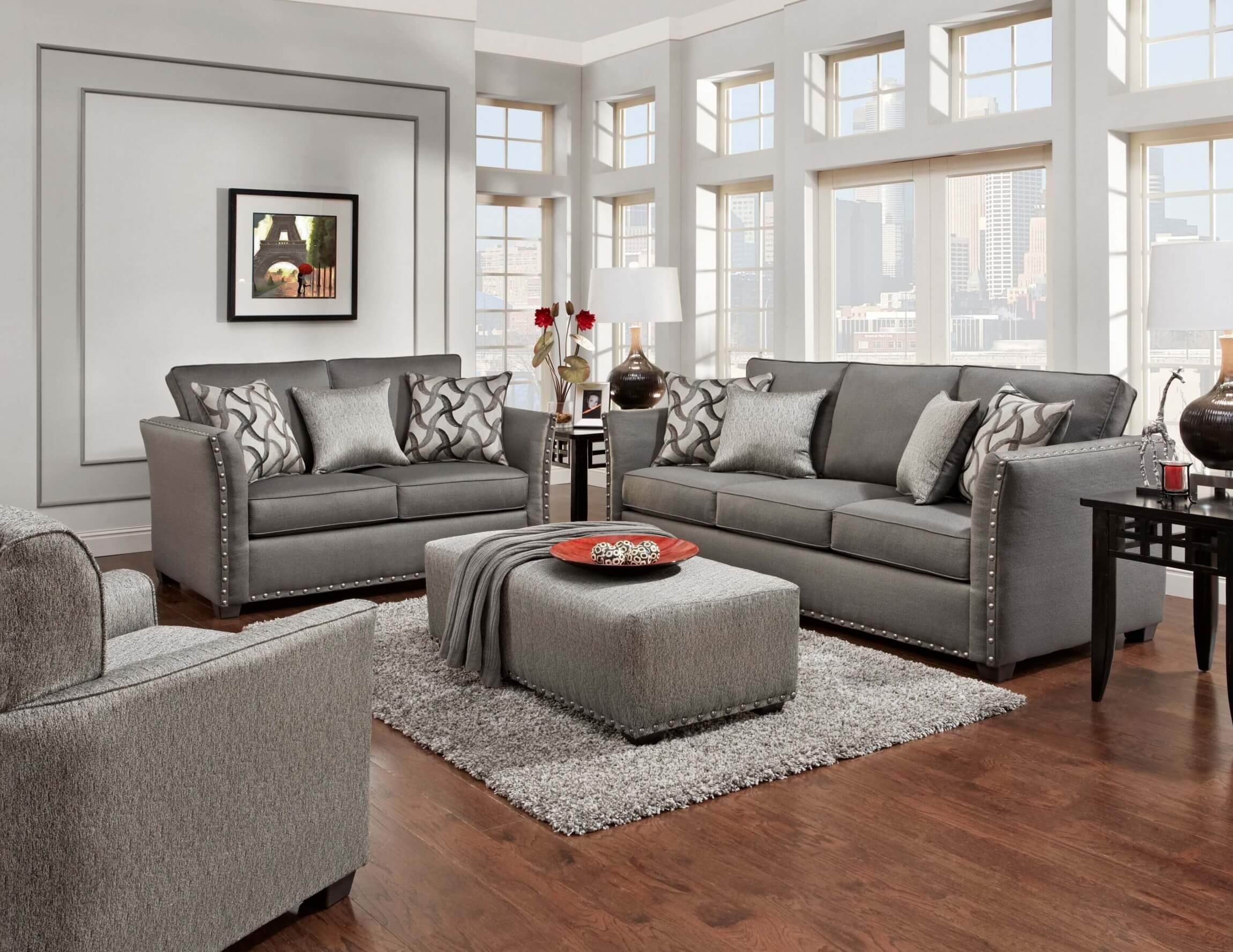 Living Room Furniture: Technique Charcoal Sofa And Loveseat
