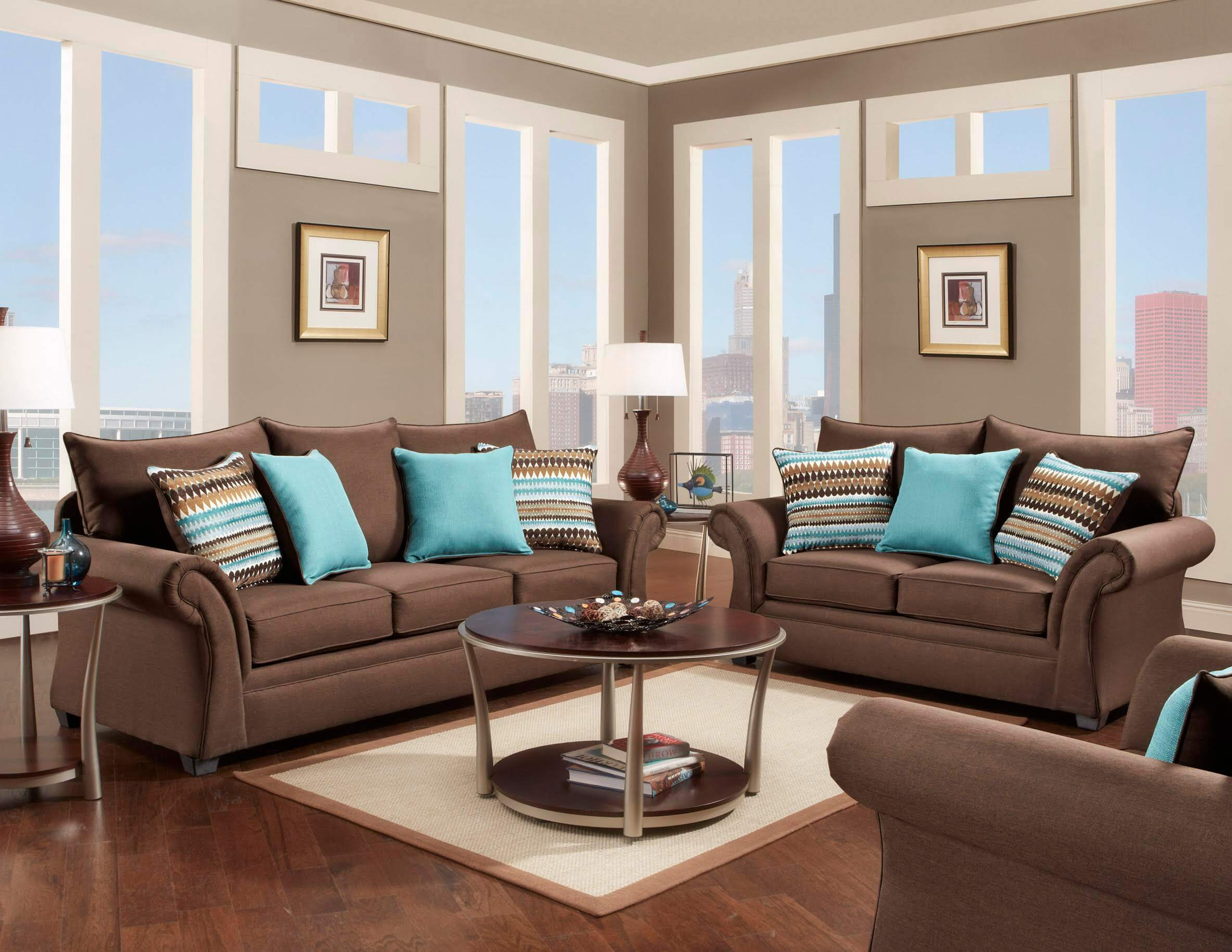 Jitterbug Cocoa Sofa And Loveseat Fabric Living Room Sets