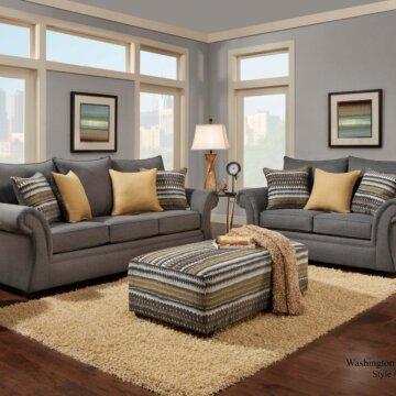 Jitterbug Gray Sofa and Loveseat