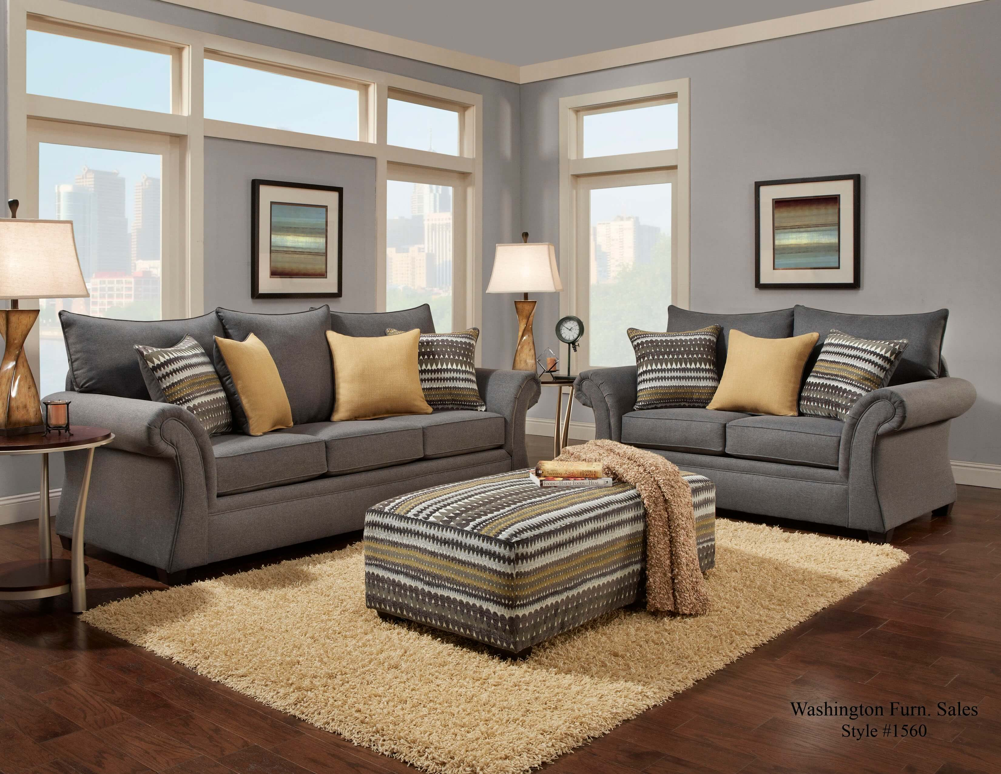 Jitterbug Gray Sofa And Loveseat Fabric Living Room Sets