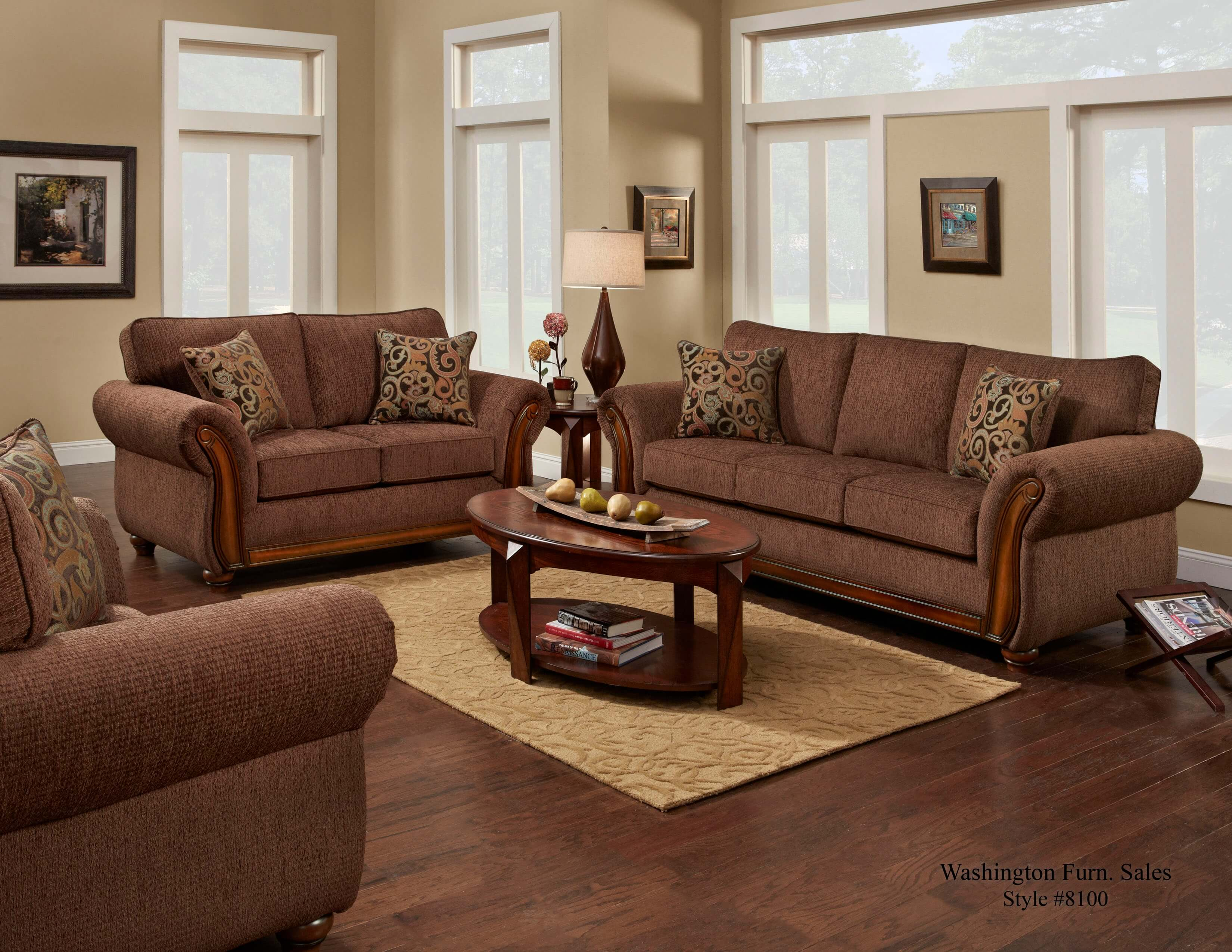 Delray Fudge Sofa And Loveseat Fabric Living Room Sets