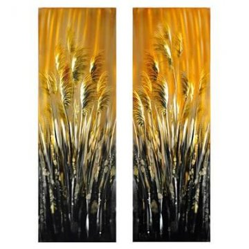 'REEDS' Metal Wall Decor (Set of 2)
