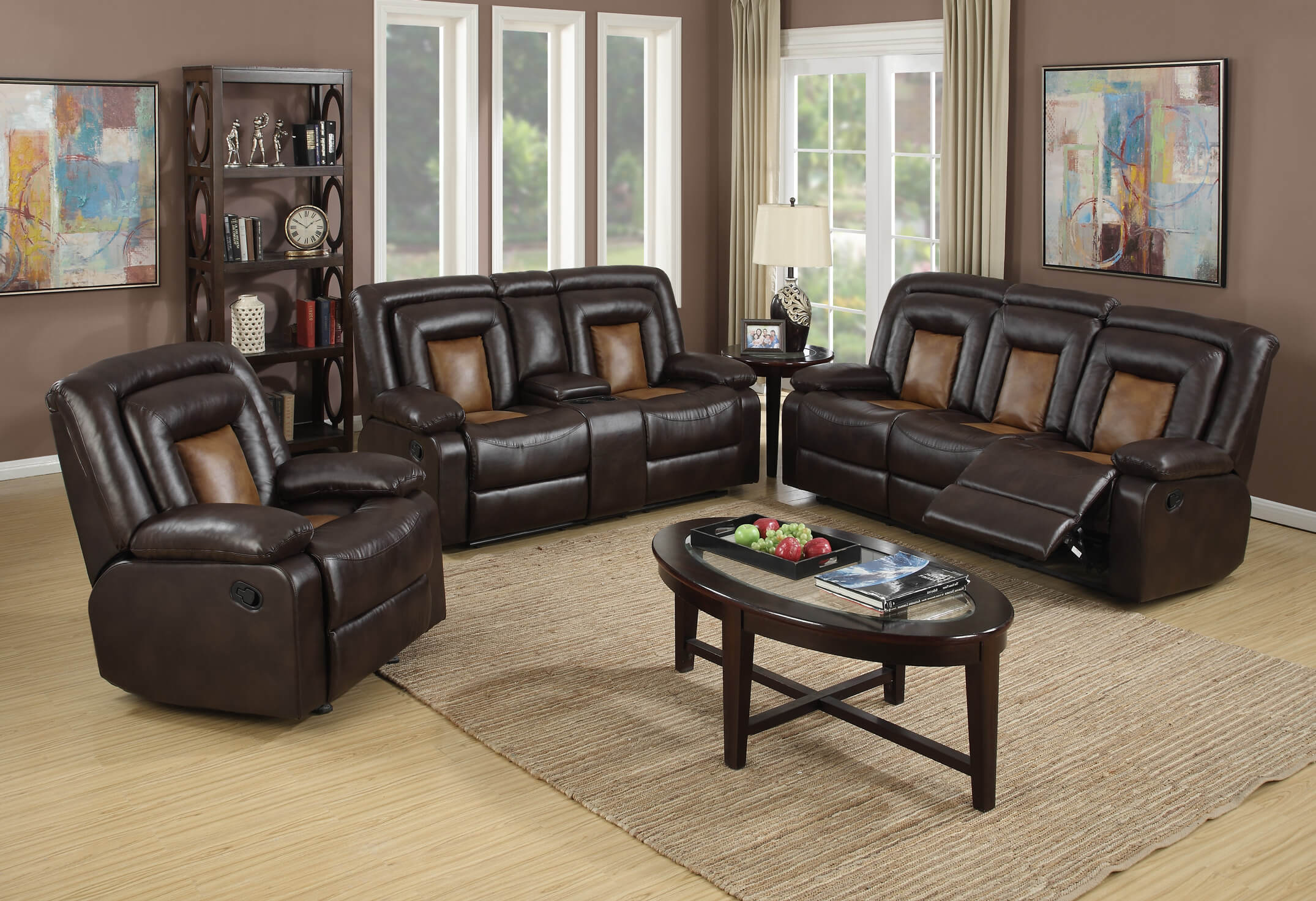 Pluto Chocolate Reclining Sofa and Loveseat