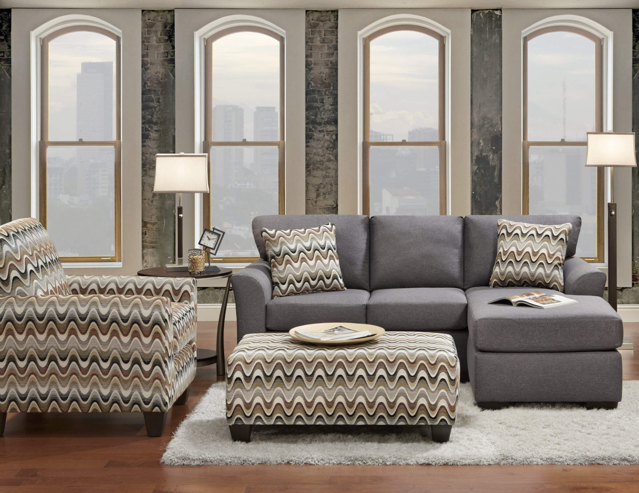 Cosmopolitan Grey Sectional by Affordable