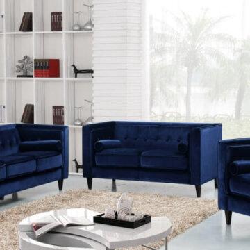 Velvet Navy Living Room Set