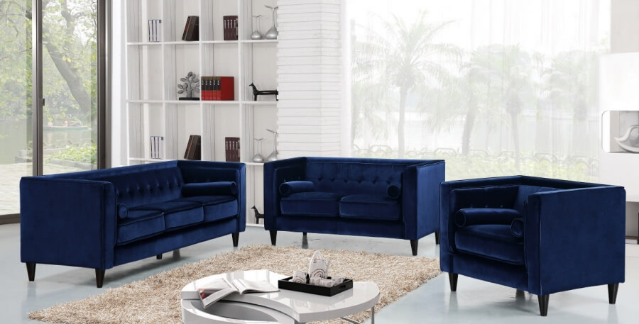 Velvet Navy Living Room Set Fabric Living Room Sets