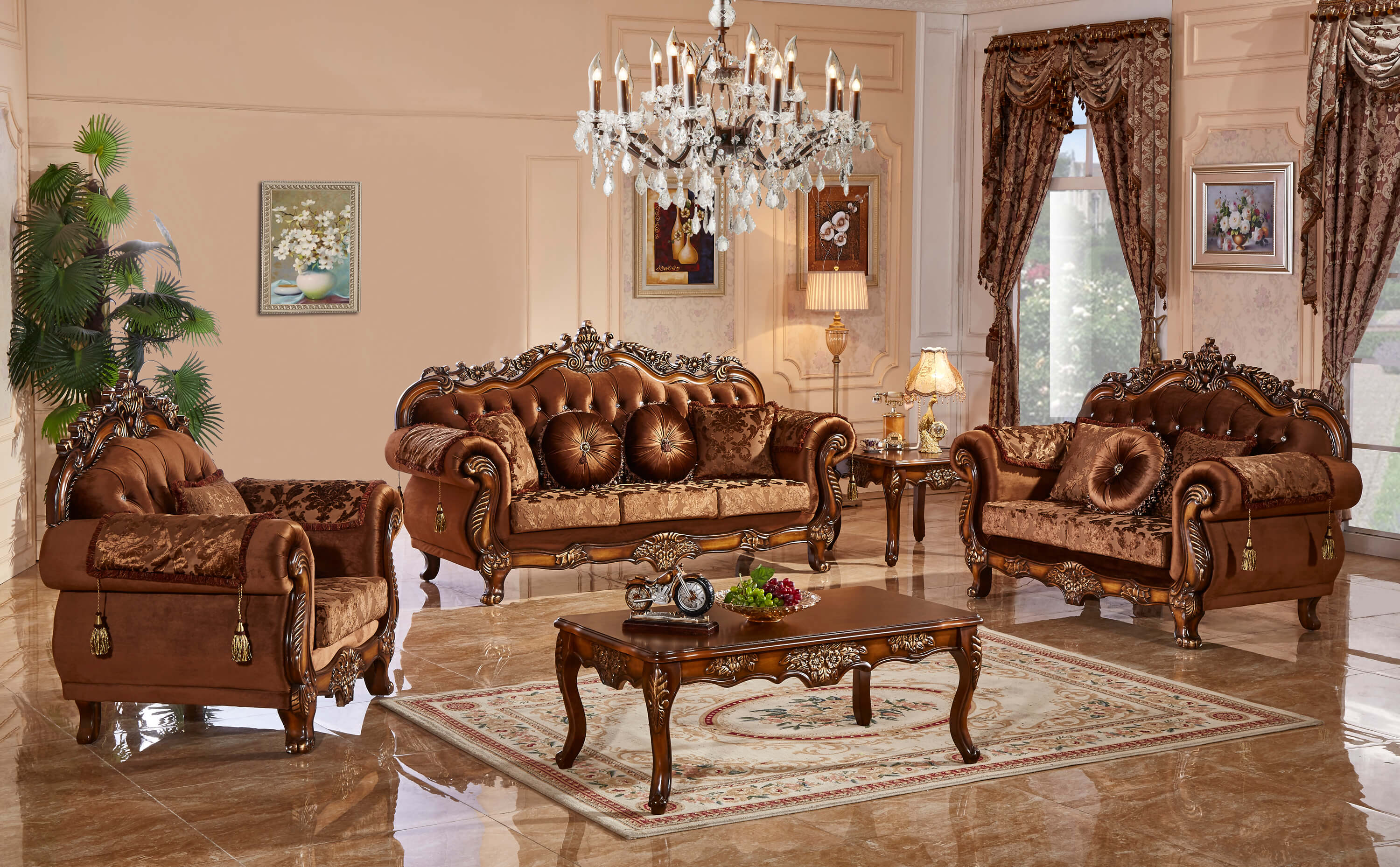 Meridian furniture living room collection fabric living - Victorian living room set for sale ...