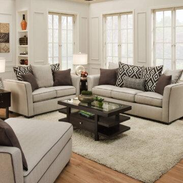 Stewart Linen Sofa and Loveseat