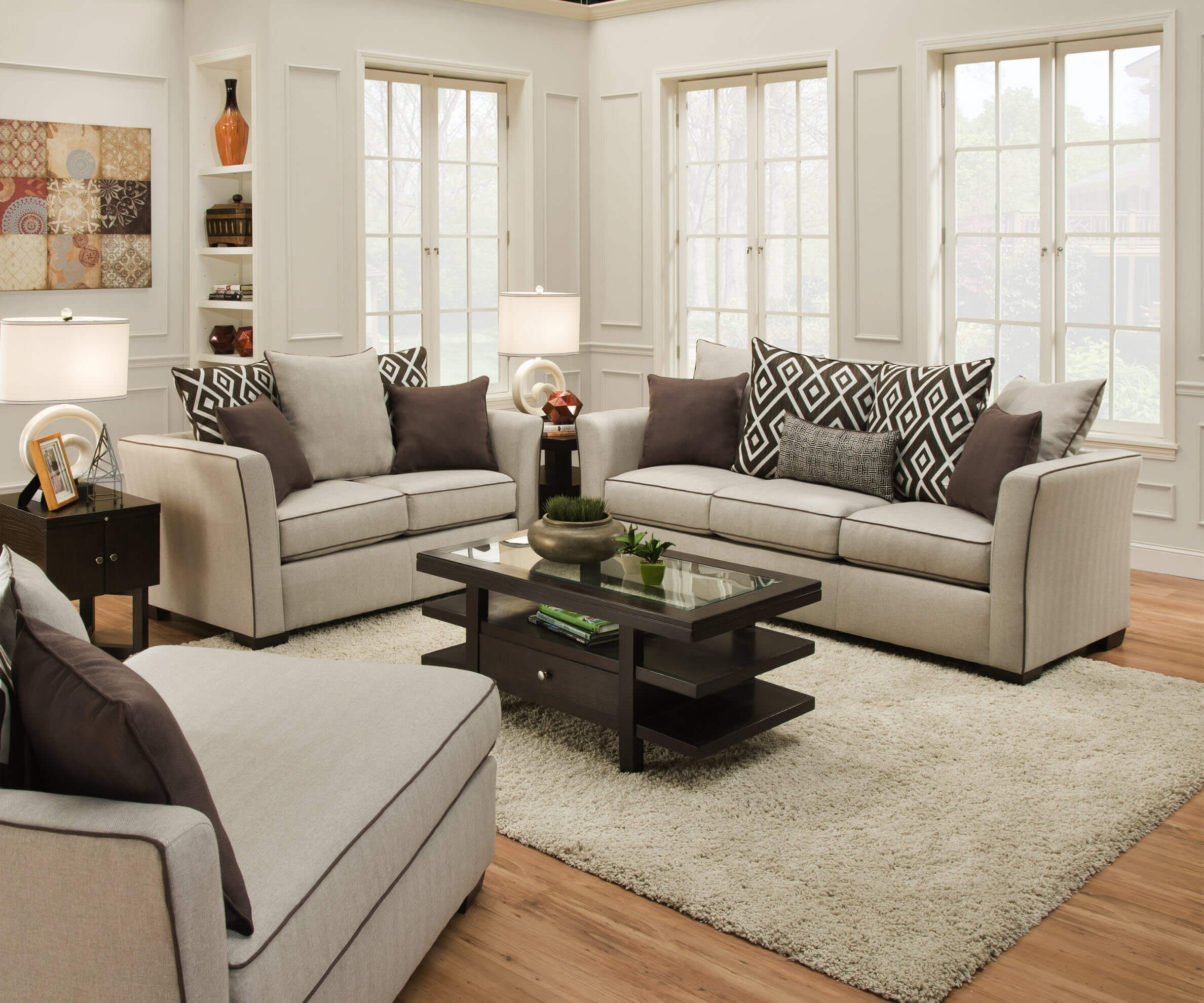 Stewart linen sofa and loveseat by simmons fabric living - Simmons living room furniture sets ...