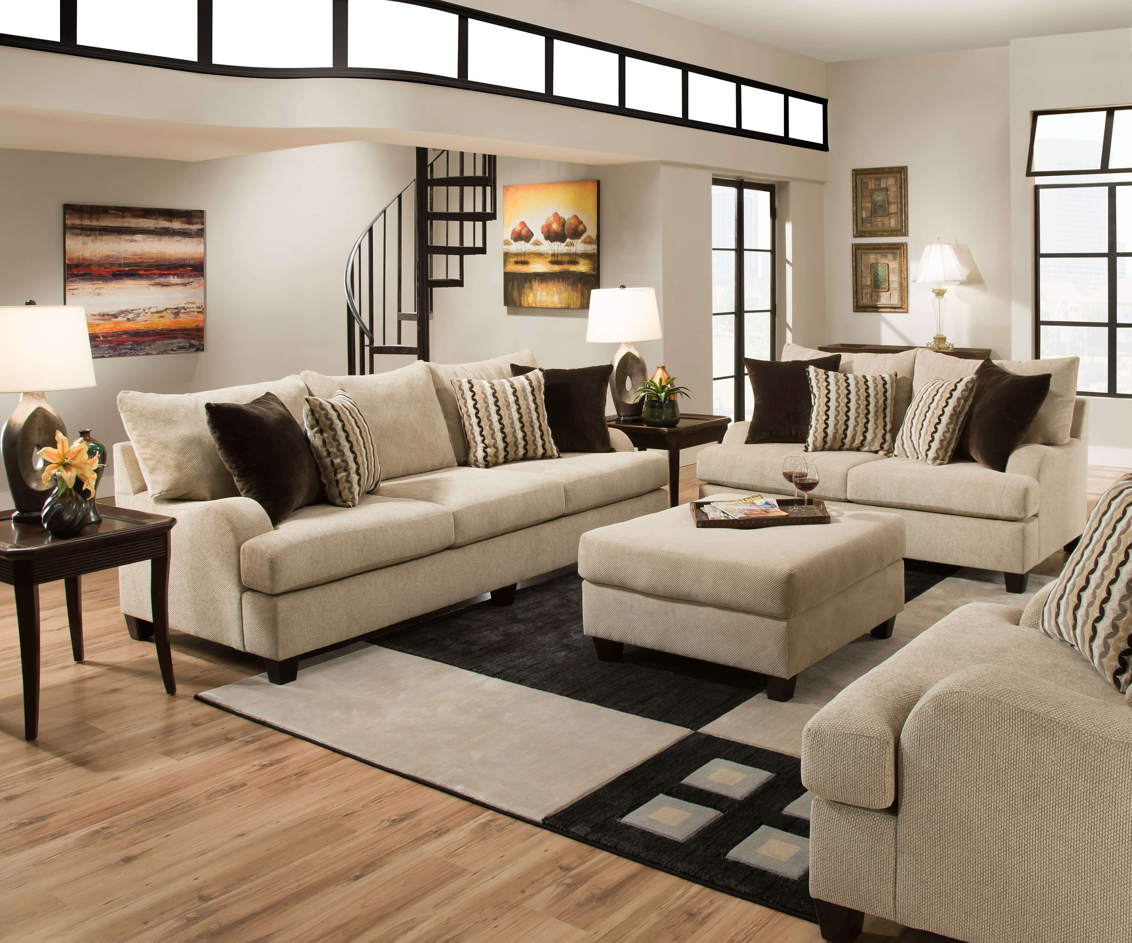Living Room Sofa Set : Simmons Trinidad Taupe Living Room Set  Fabric Living ...