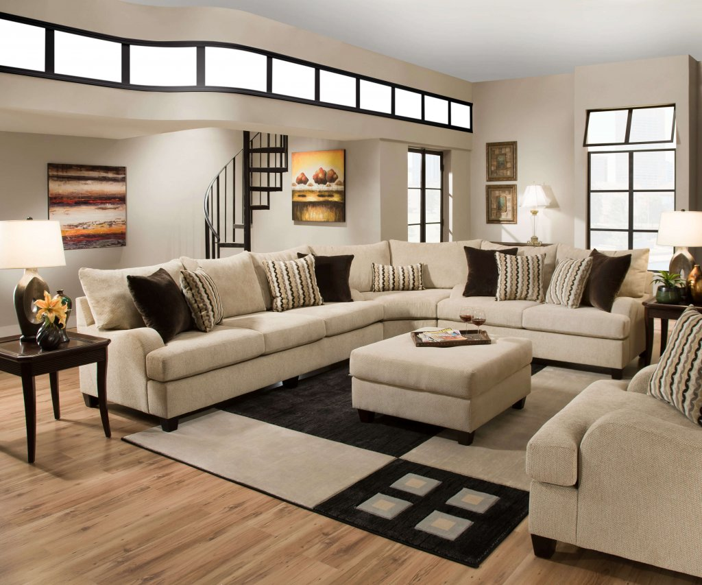 Simmons Trinidad Taupe Sectional Set Sectional Furniture