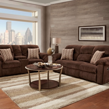 Chevron Mink Reclining Sofa and Loveseat Set