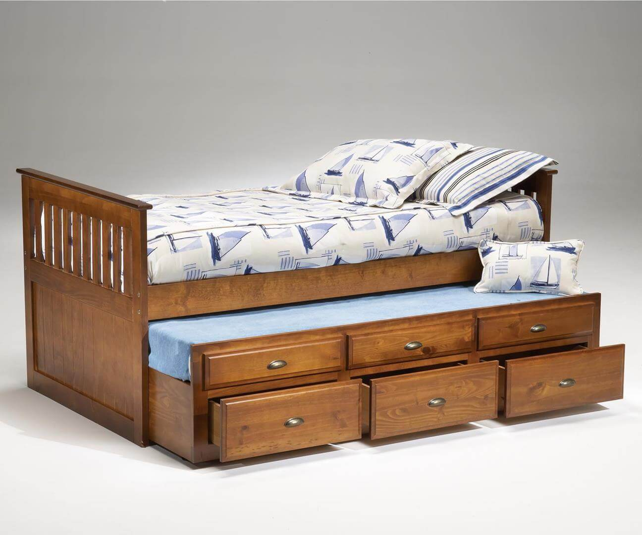 Black Captains Bed with Trundle by Bernards