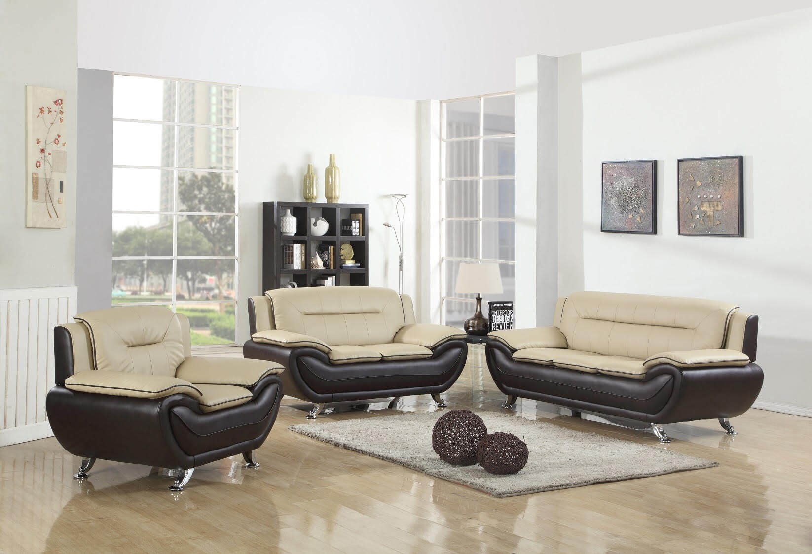 Beige and Brown Contemporary Living Room Set
