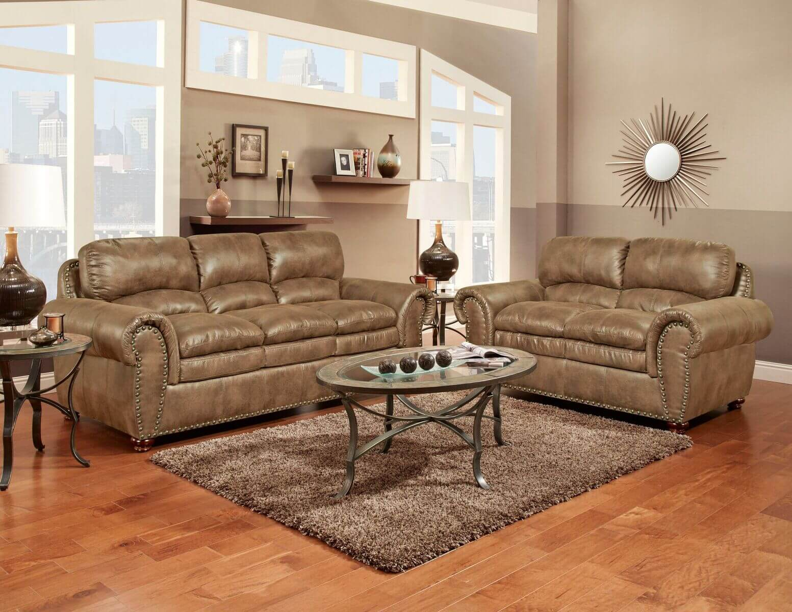 Padre Almond Sofa And Loveseat Fabric Living Room Sets
