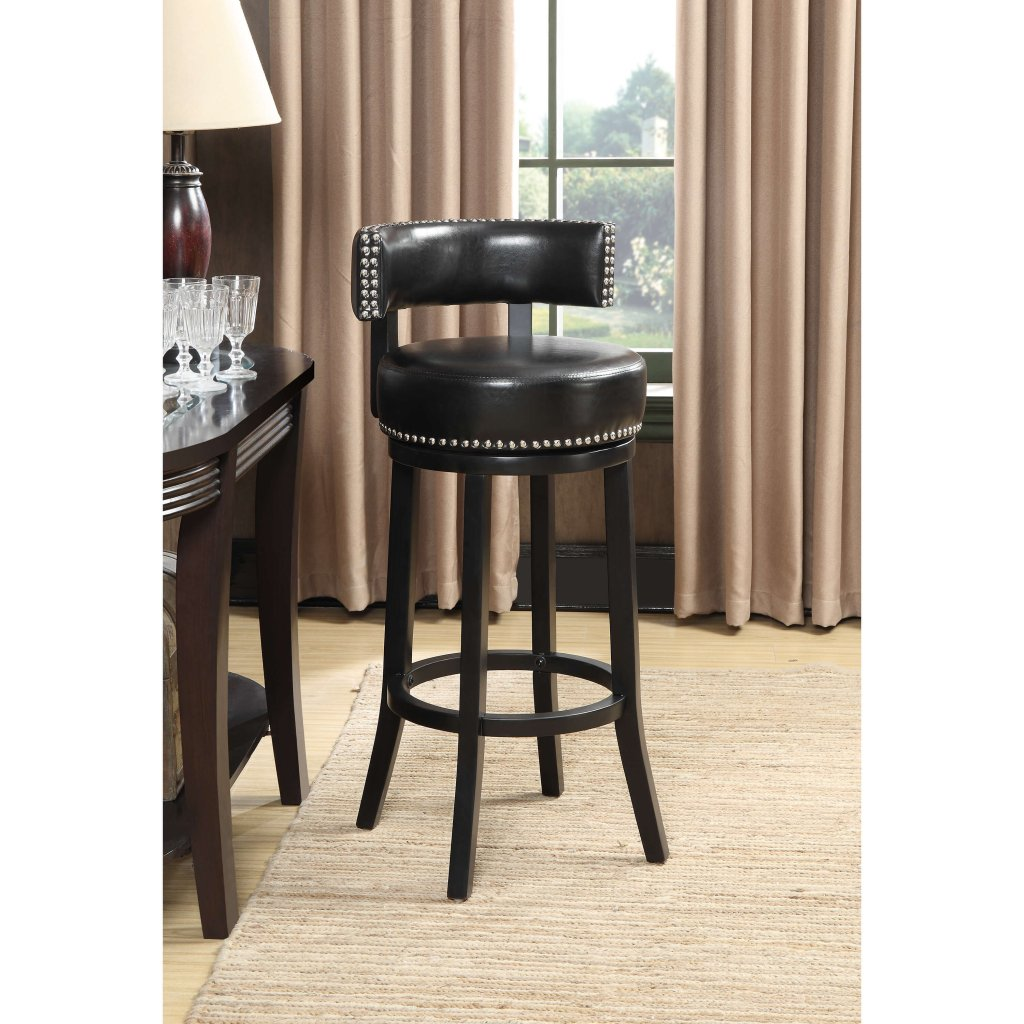 Natasha Black Swivel Bar Stools By Crown Mark