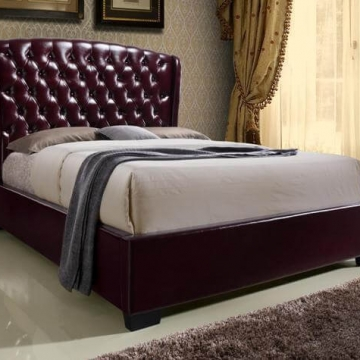 Kaitlyn Wine Tufted Bed