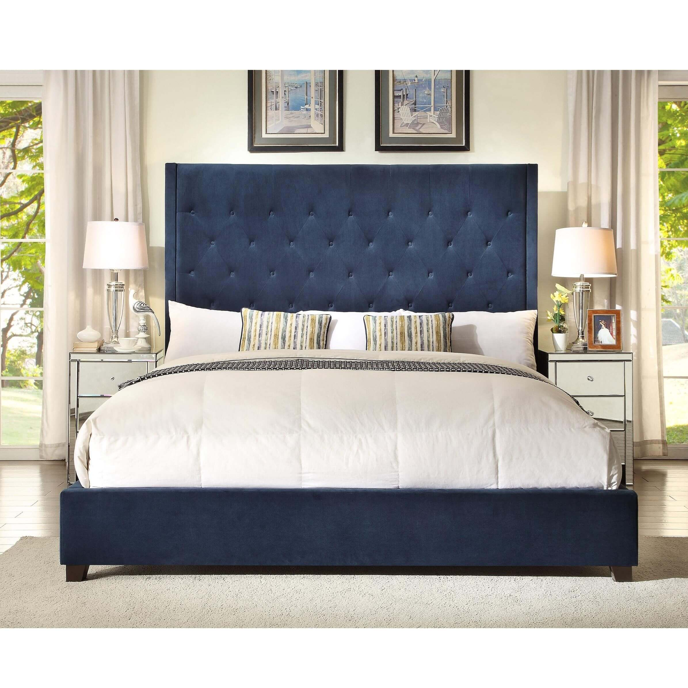 Reese Navy Tufted Bed | Bedroom Furniture