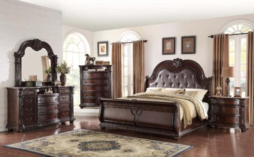 Stanley Marble Top Bedroom Set by Crown Mark