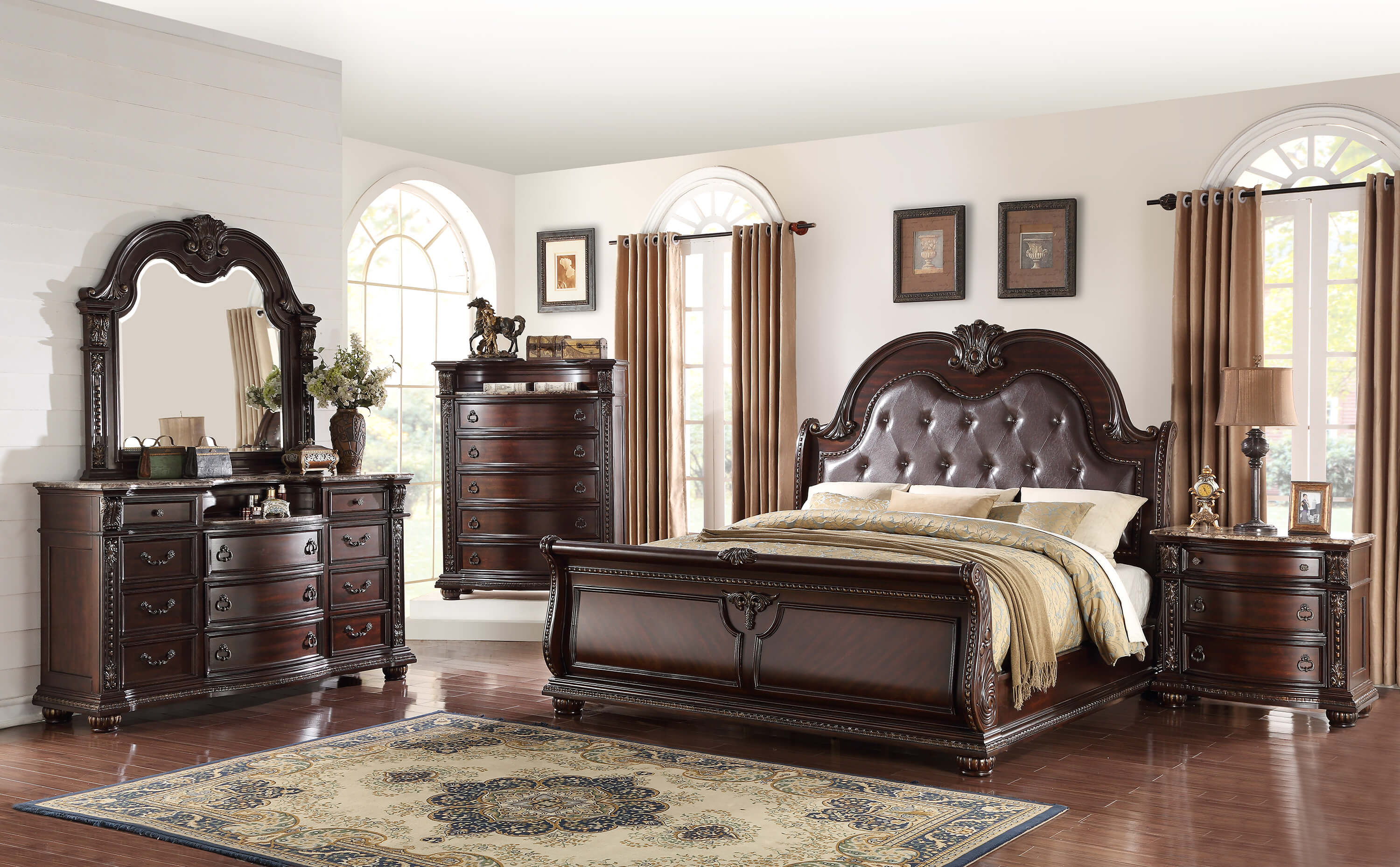 Stanley marble top bedroom set bedroom furniture sets for Front room furniture sets