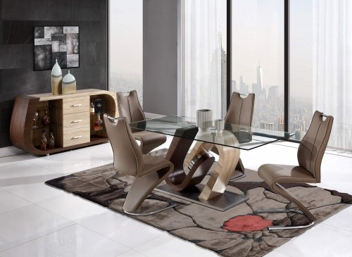 Oak/Walnut Dining Room Set by Global Furniture USA