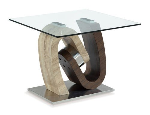 Oak and Walnut End Table by Global Furniture USA