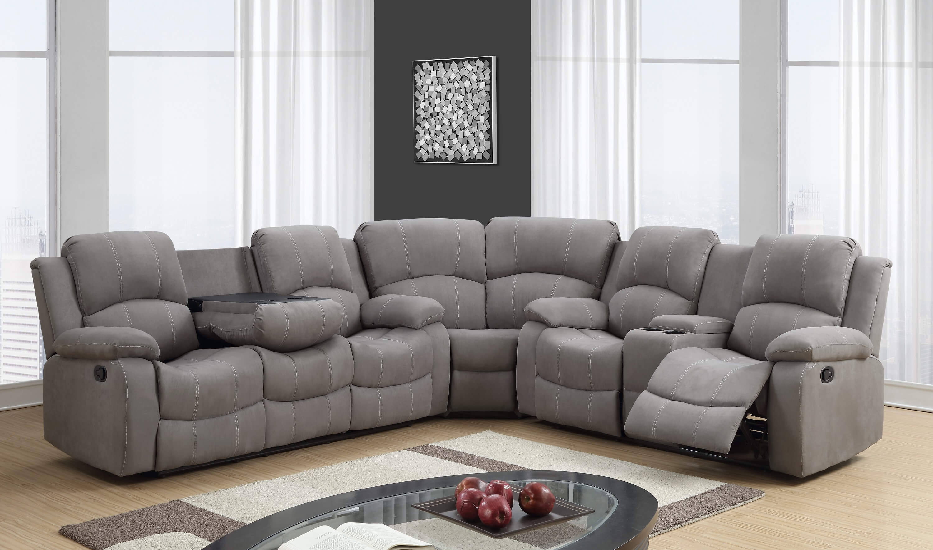 Global Furniture USA Graphite Reclining Sectional