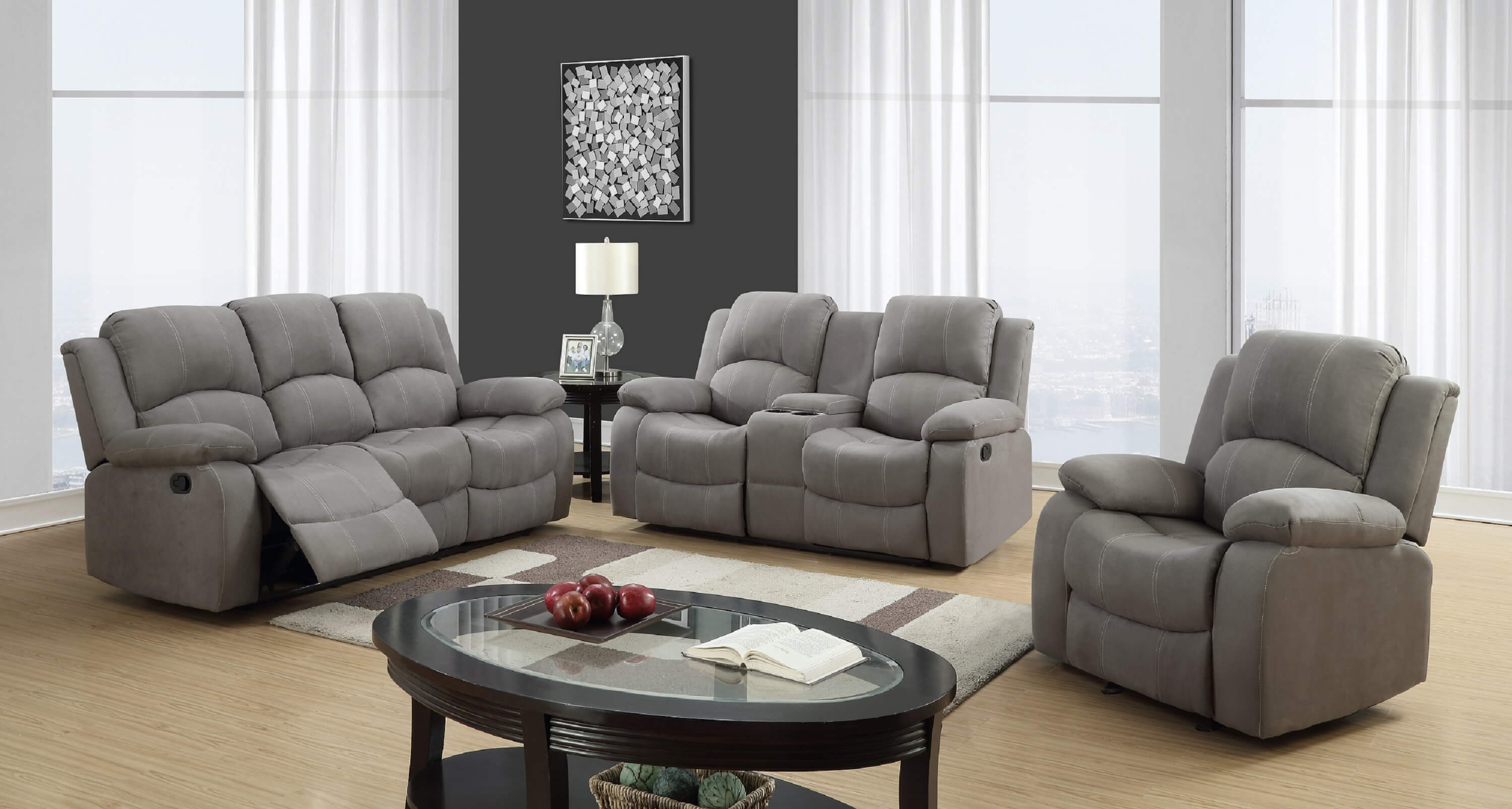 Global Furniture Usa Graphite Reclining Sofa And Loveseat