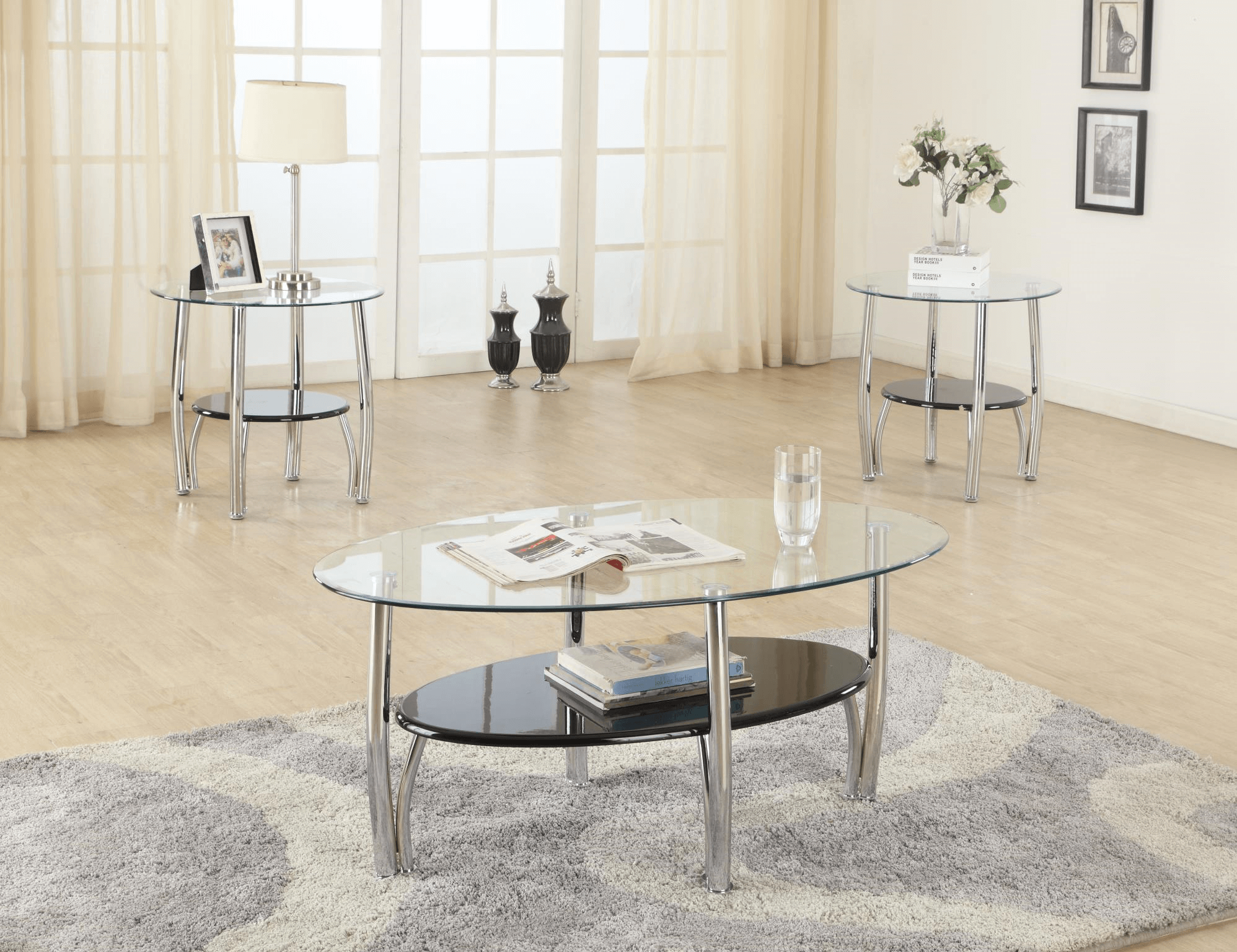 Black And Chrome Coffee And End Table Set
