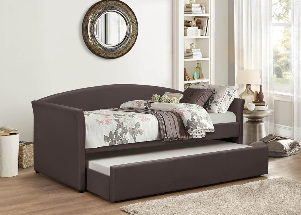Brown Day Bed With Trundle Bed Kids Beds