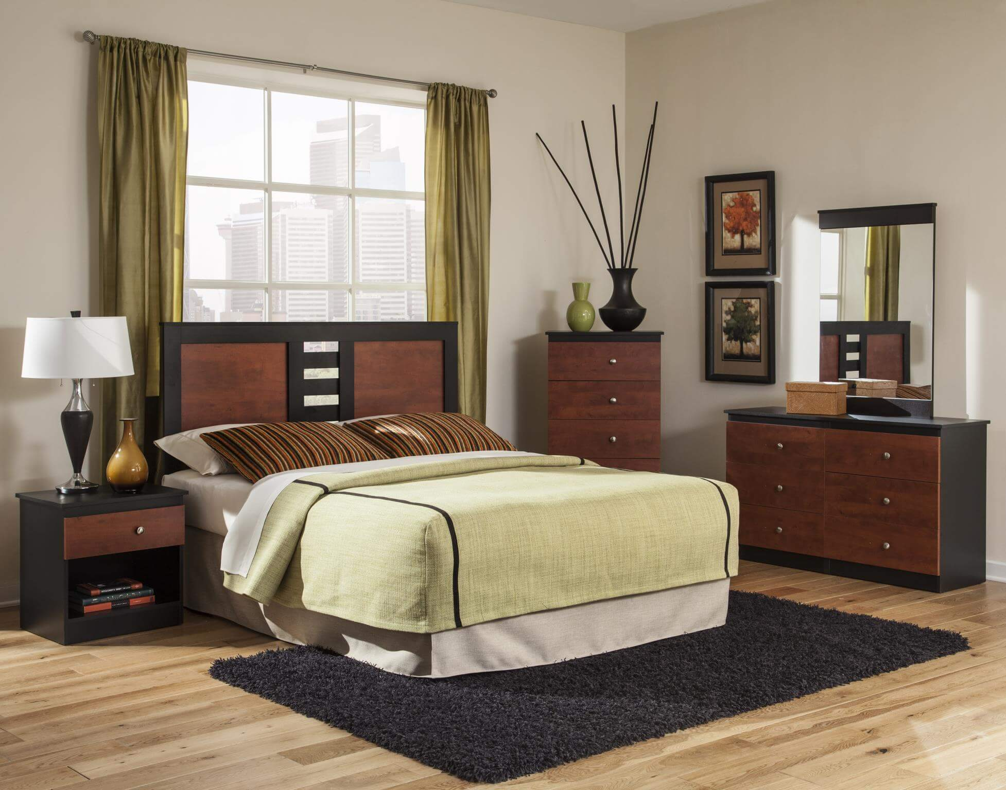 Mahogany And Black Modern Bedroom Set