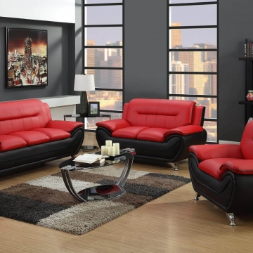 Red and Black Sofa and Loveseat