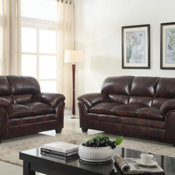 Geneva Mahogany Sofa and Loveseat