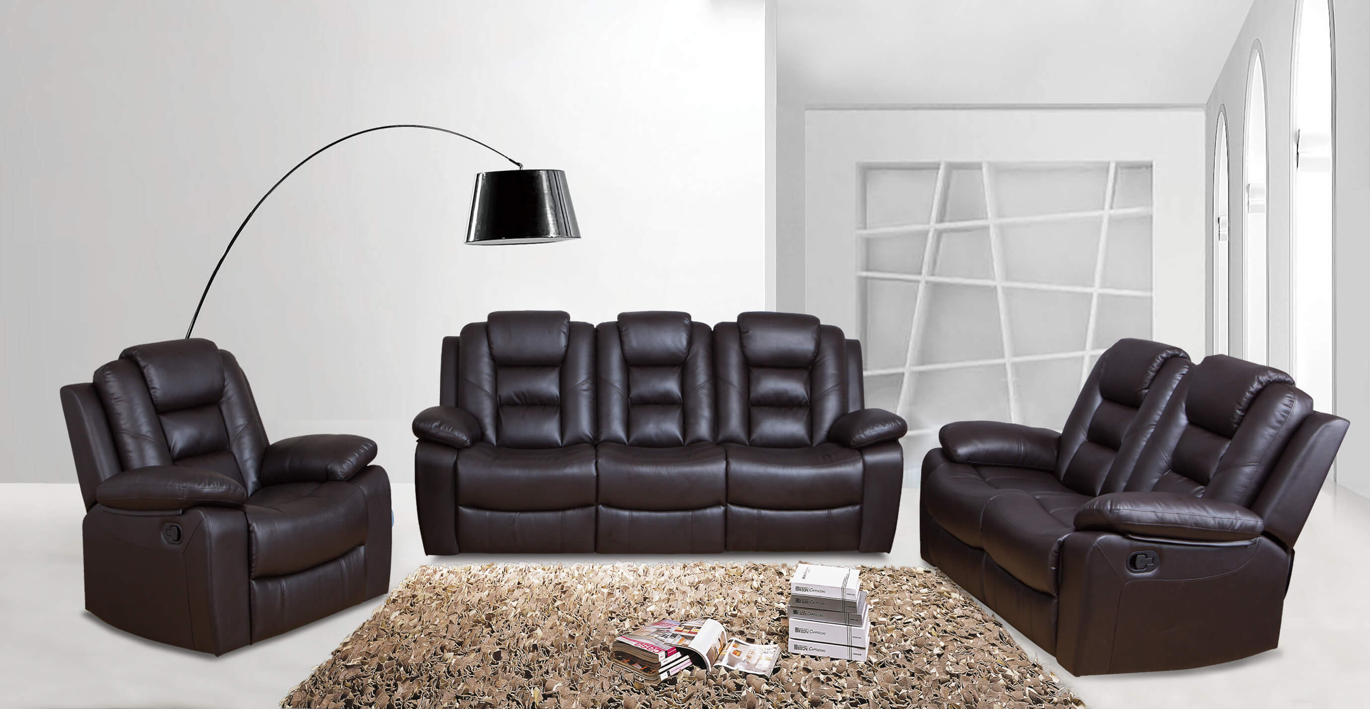 Brown Reclining Sofa and Loveseat with FREE Reclining Chair