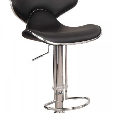Black Faux Leather Bar Stools Set