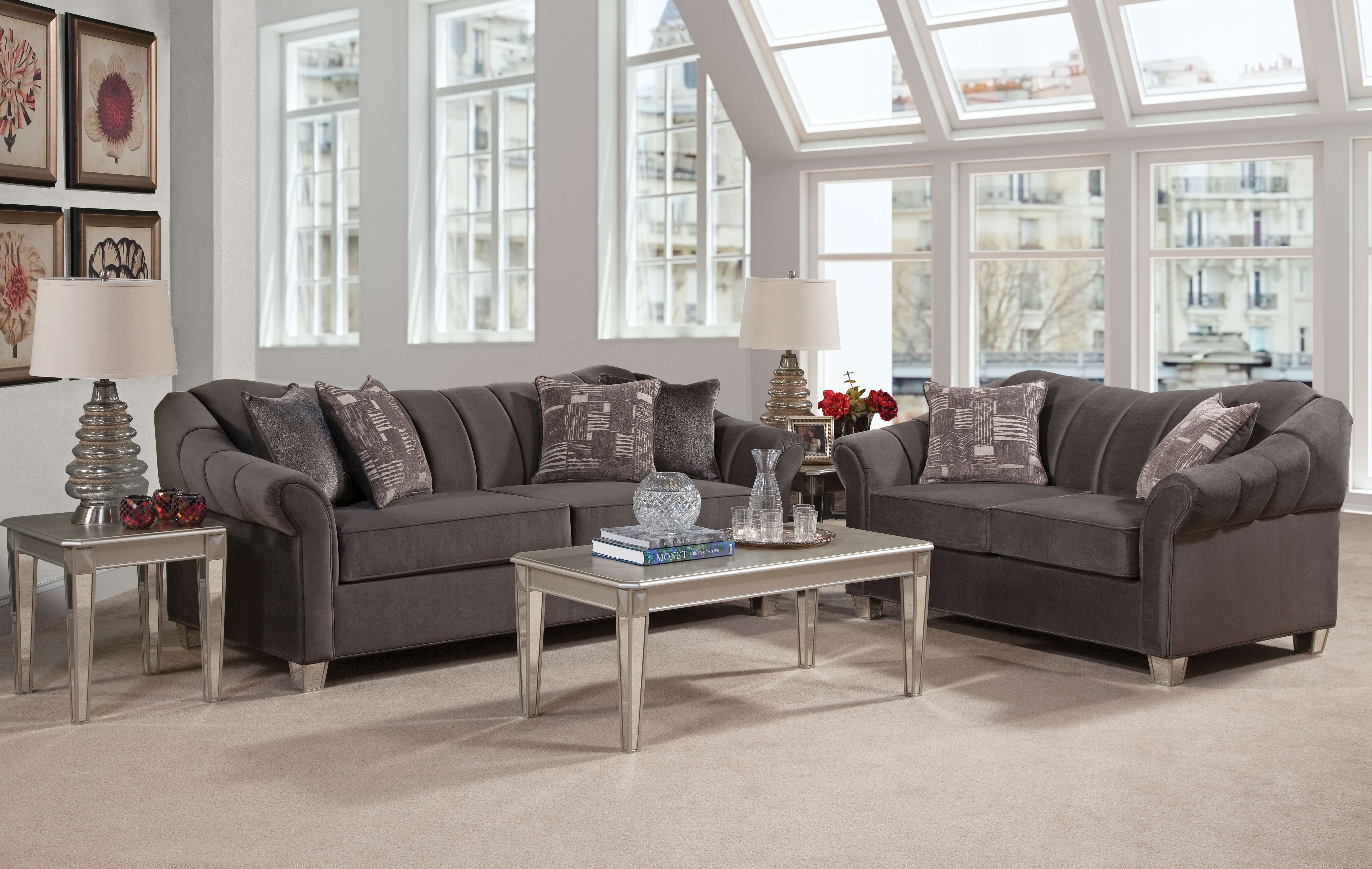 Piccolo graphite mirrored leg sofa and loveseat - Living room set with chair and a half ...