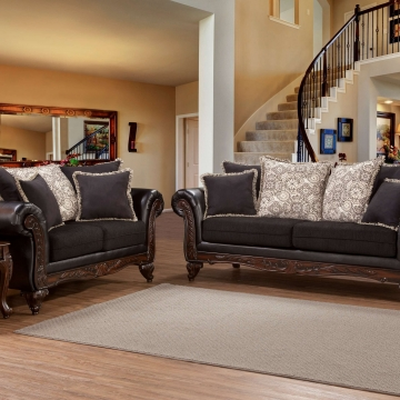 Serta Soprano Ebony Sienna Sofa and Loveseat