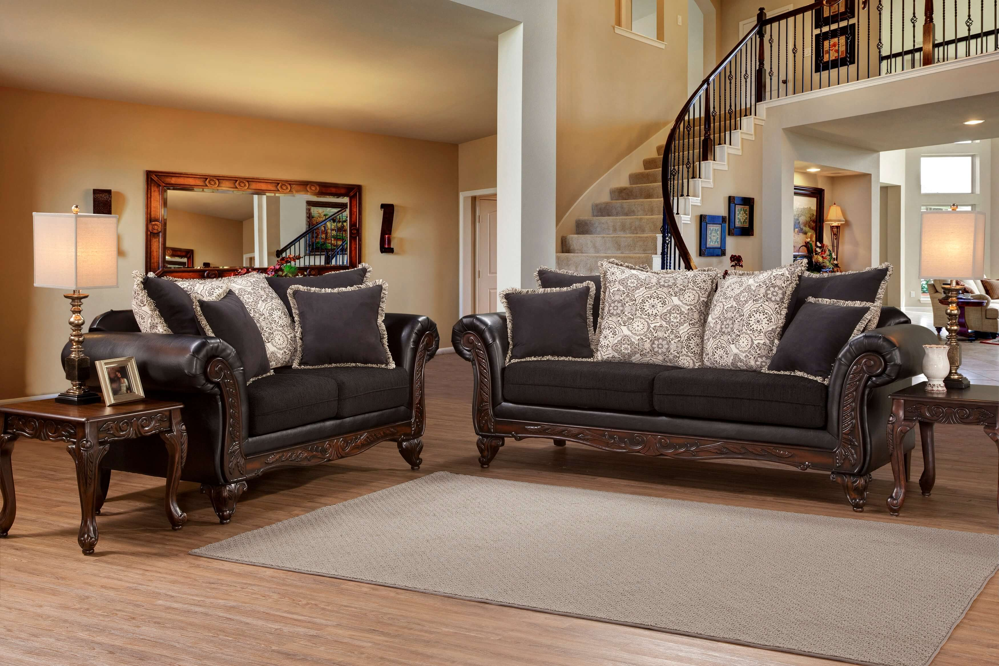 Serta Soprano Ebony Sienna Sofa And Loveseat Living Room
