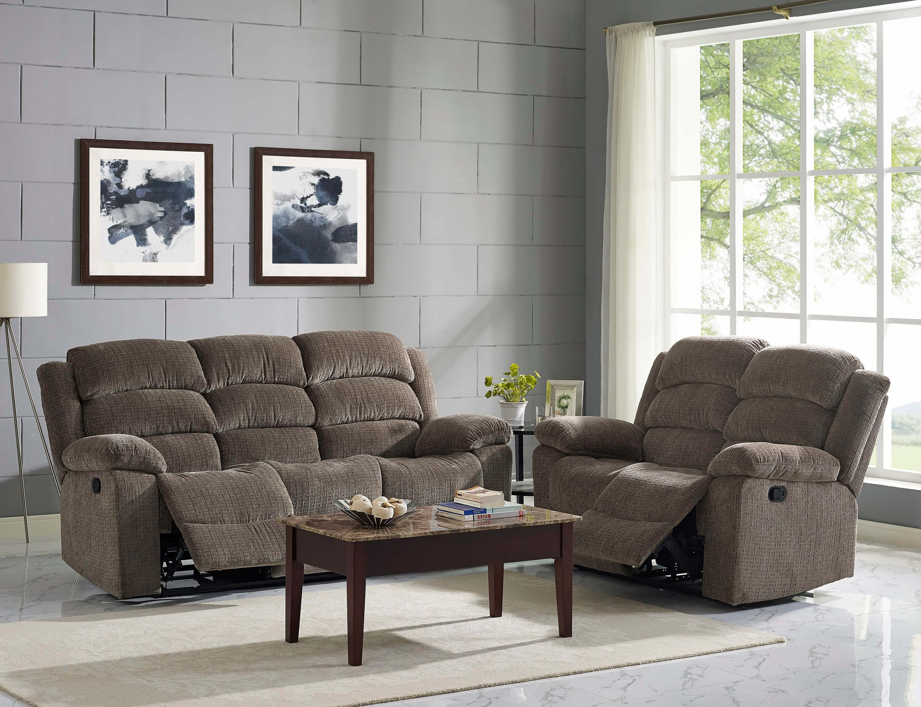 motion living room furniture reclining sofa and loveseat by new classic 15640