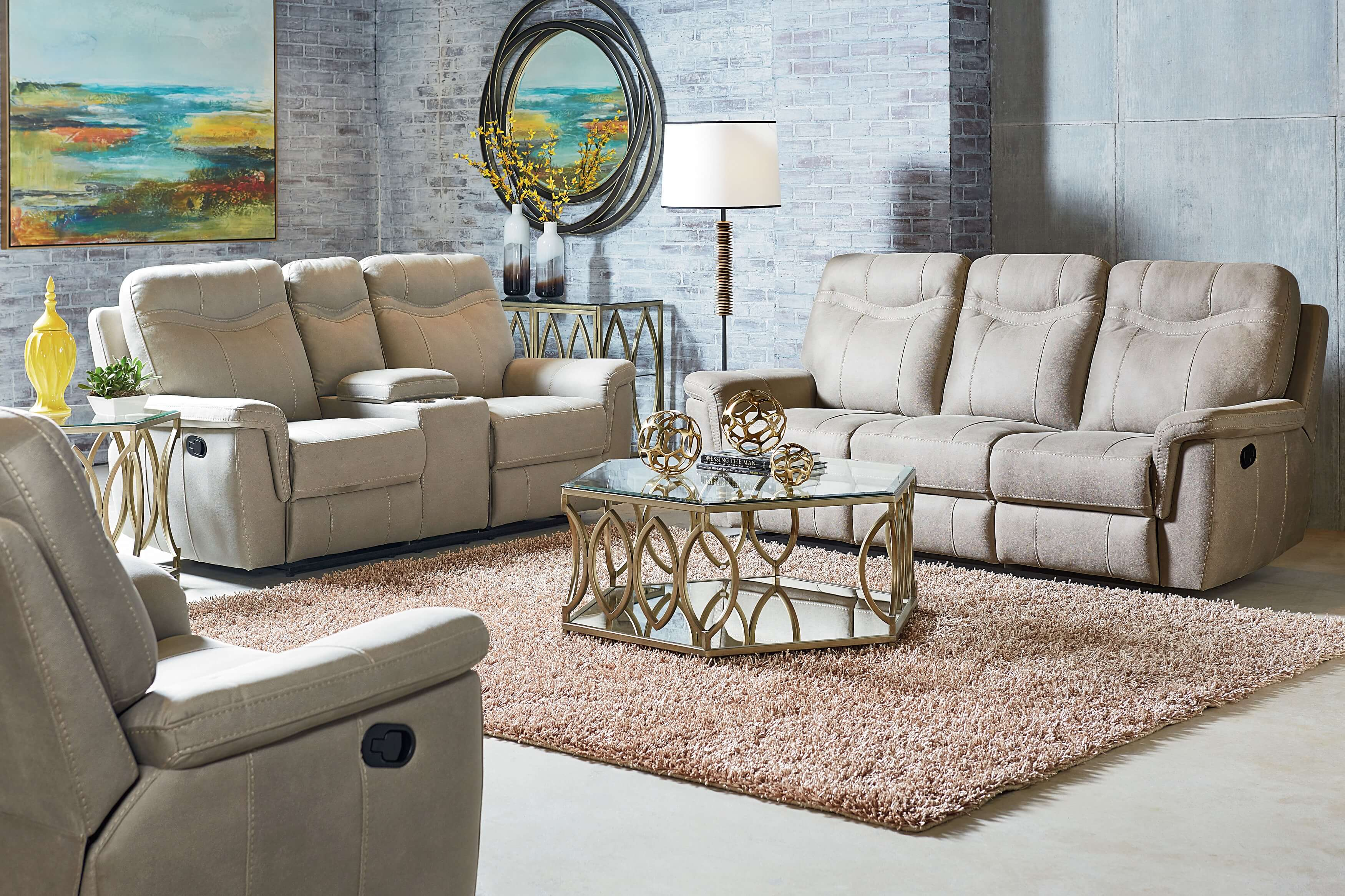 Reclining sofa sets hot sale modern genuine leather living for Cheap reclining living room sets