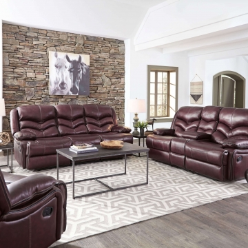 Denali Top Grain Leather Reclining Sofa and Loveseat